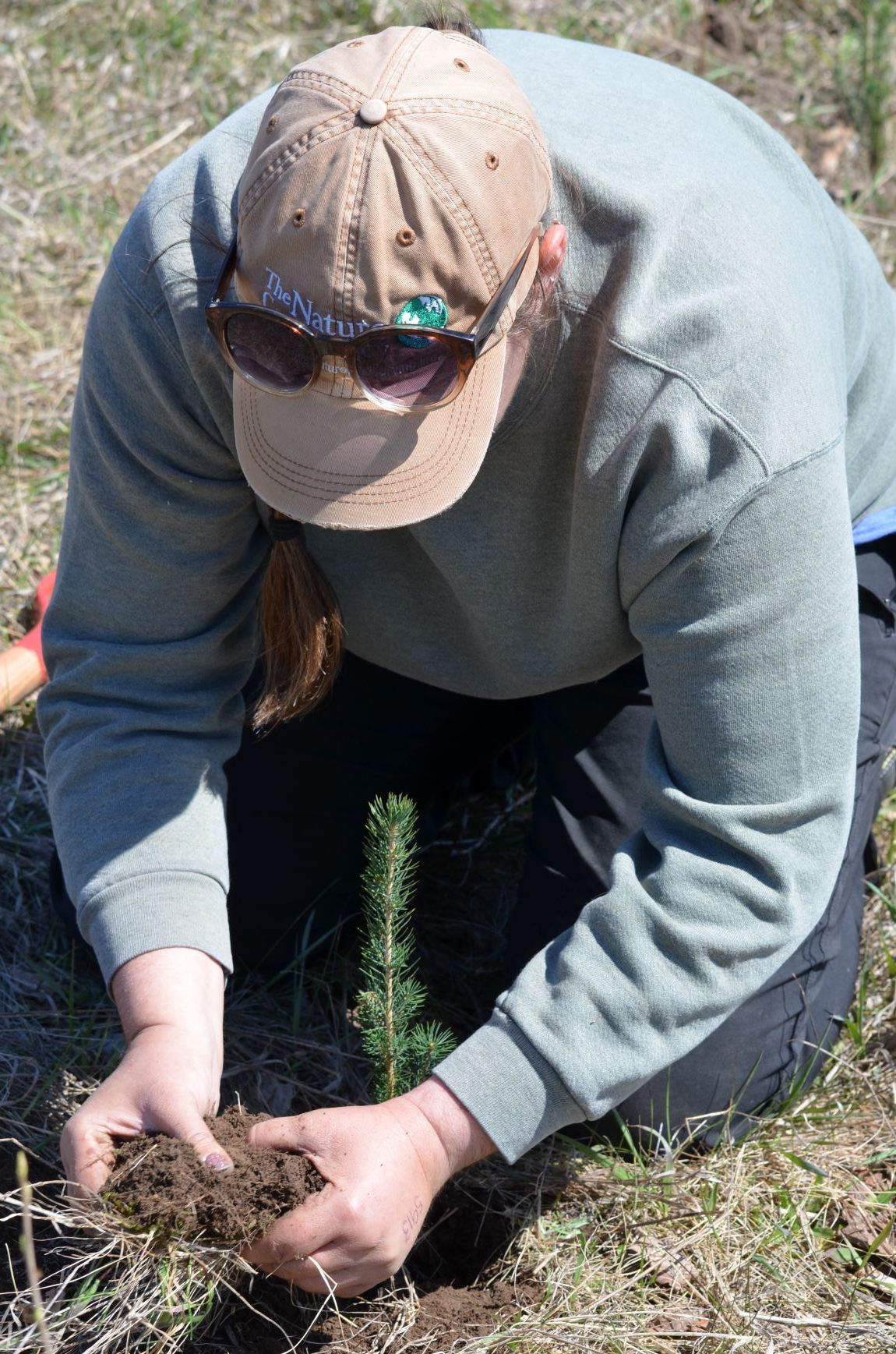 Kari Hagenow, The Nature Conservancy, demonstrates how to plant a tree during the Spring Public Tree Planting in Ellison Bay, WI on May 4, 2019.