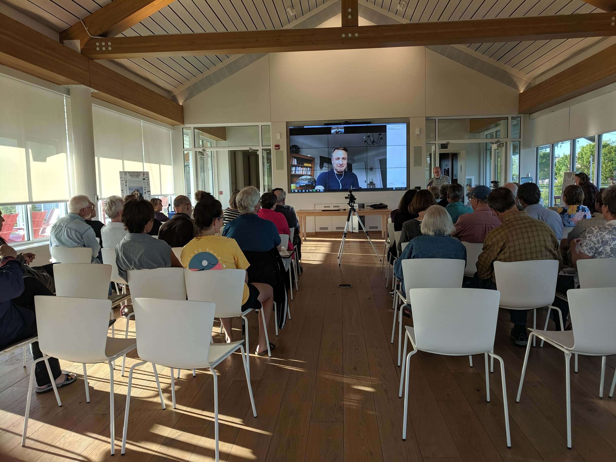 An introduction to Project Drawdown with Jonathan Foley via video conference at the Kress Pavilion In Egg Harbor, WI on June 17, 2019.