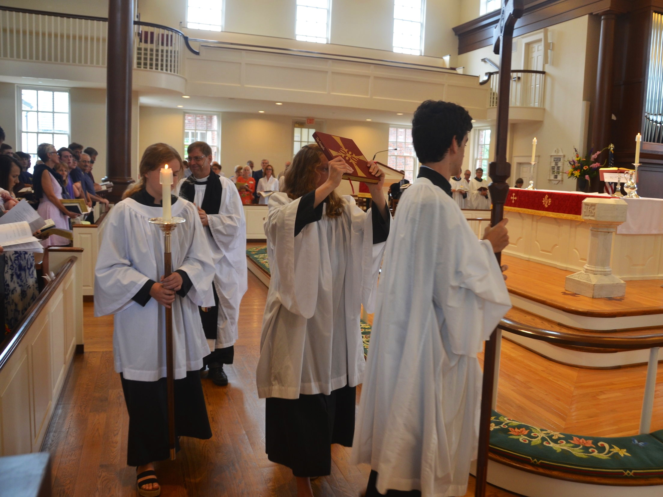 Acolytes during church service