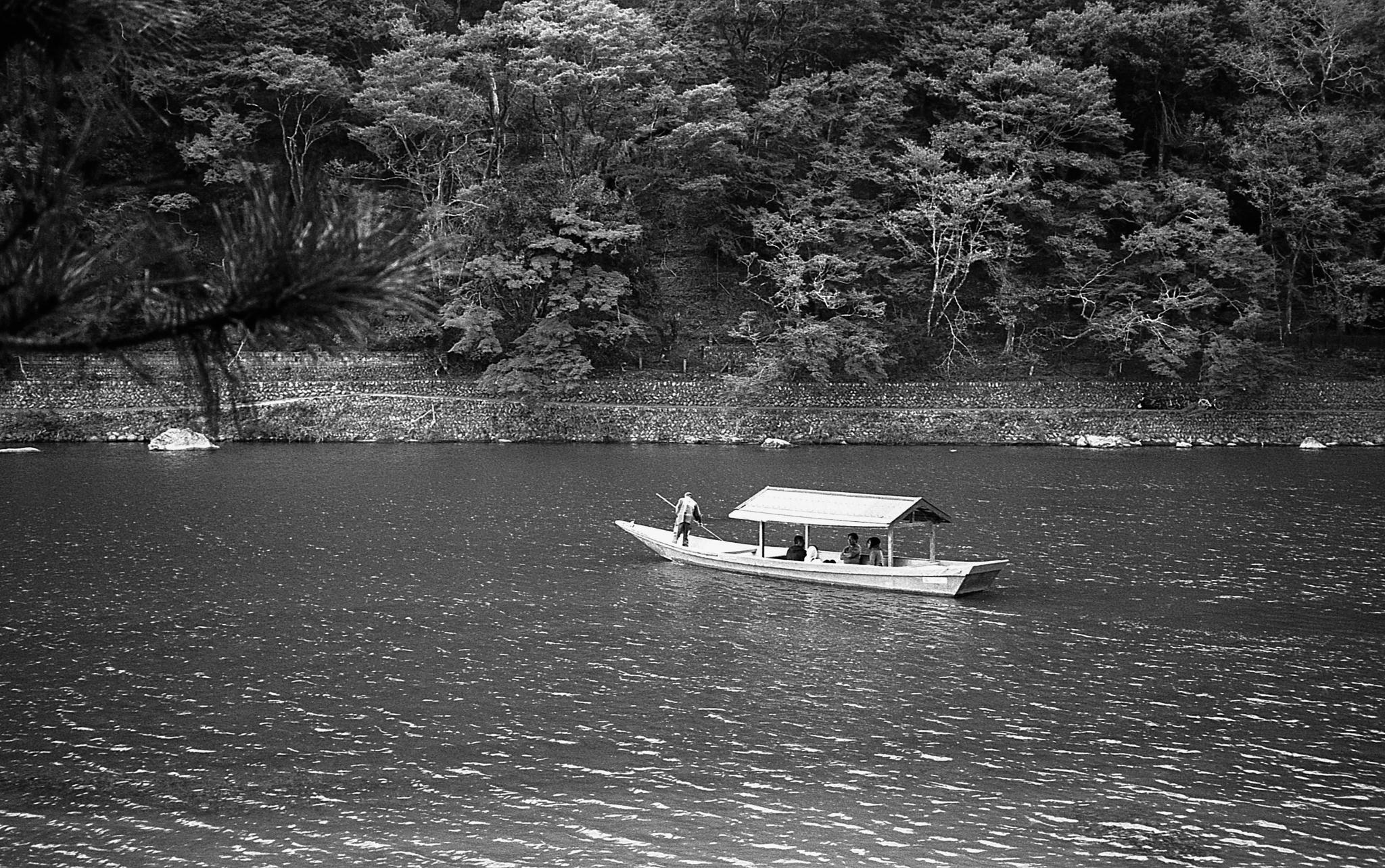 Boat on Katsura River (Kyoto) (Olympus Mju-II Ilford HP5+)