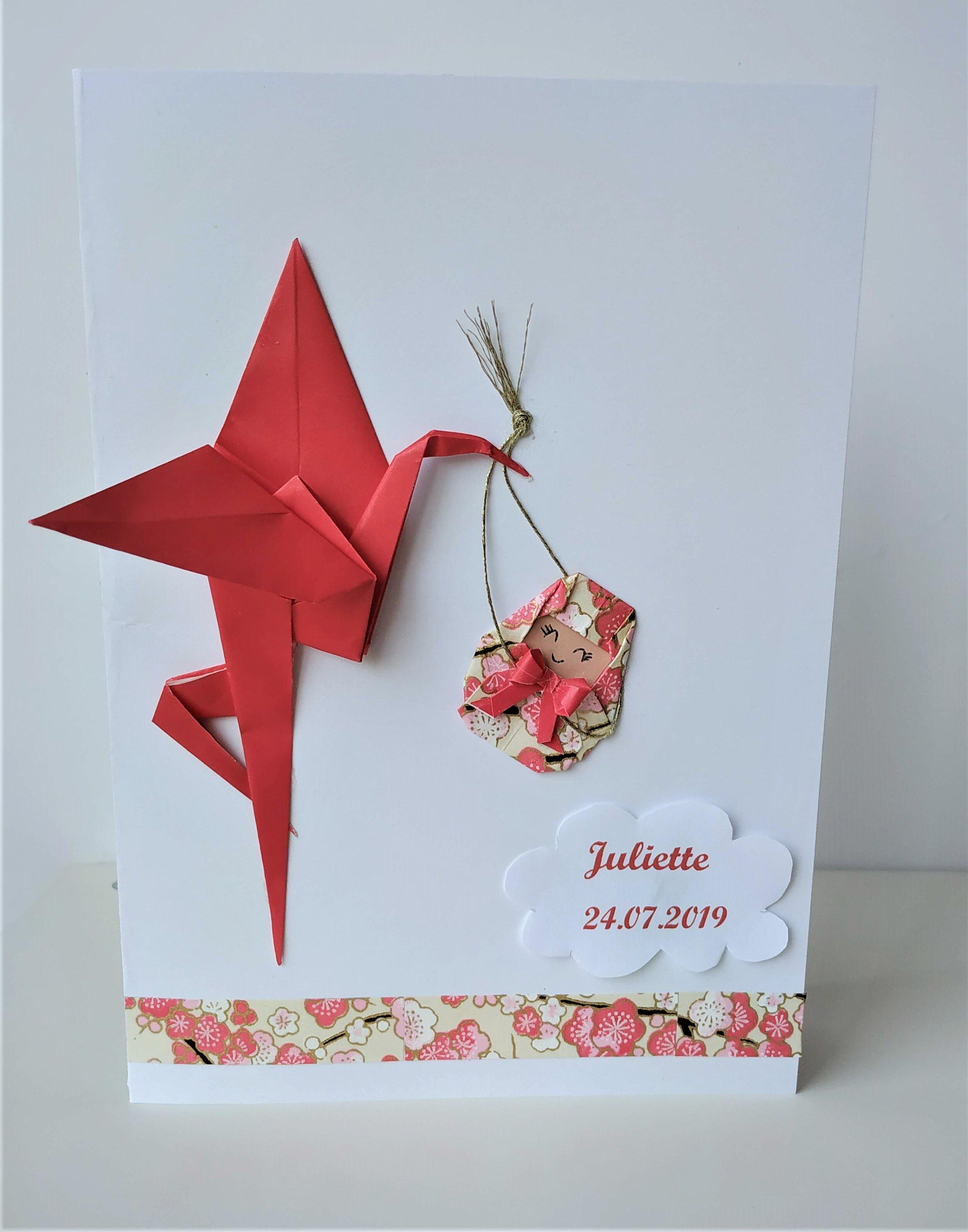 Faire Part De Naissance Personnalisable En Papier Japonais Petipli Bijoux Et Décorations En Origami Et Papier Japonais
