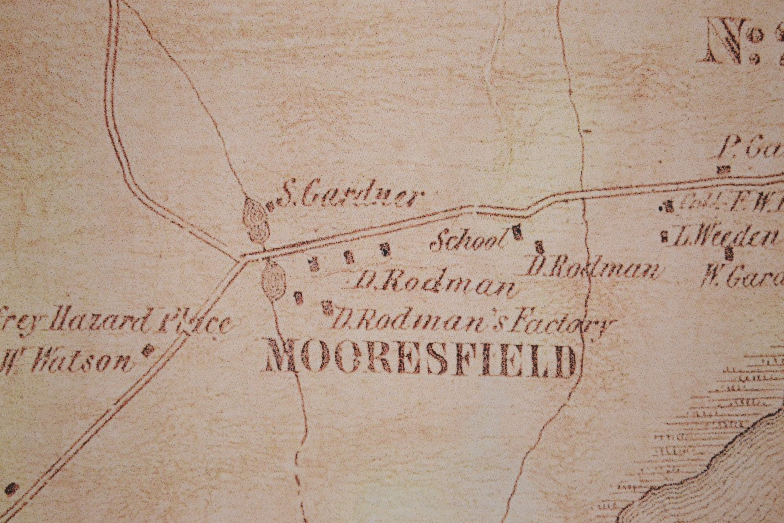Mooresfield Village with the mill and school.