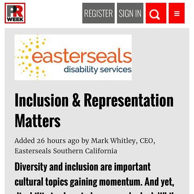 Check out Mark Whitley, CEO of Easterseals Southern California, featured this week in @prweek! Inclusion and representation matter.