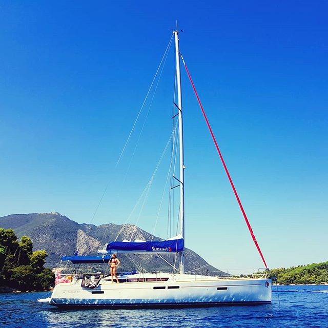 Our boat, My Way ⛵ anchored near a small Greek island for lunch ☀️🏖️🏴‍☠️🇬🇷⚓ #sailing #sailingholiday #greece #greeksailing #greekholidays #summertime #summer