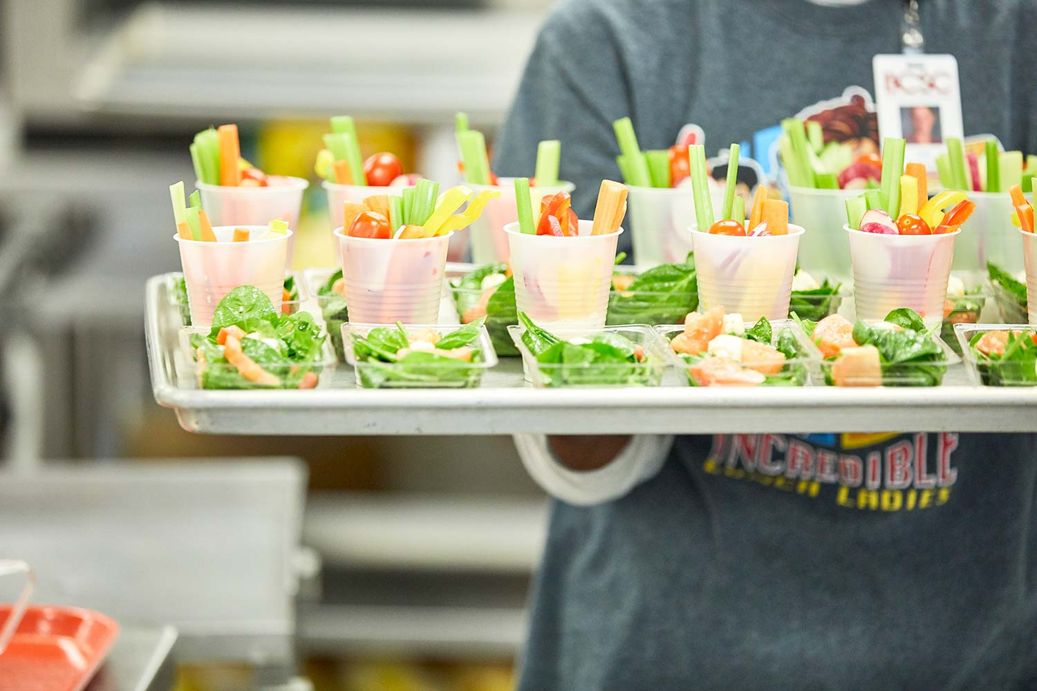 Bartholomew Consolidated School Corporation  serves vegetable strips in cups of ranch dressing, using local cucumbers, peppers, and cherry tomatoes, in season.