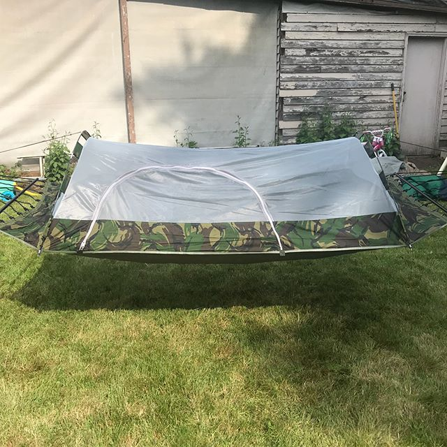 SOLD! Okay one last one. We found this fun thing! A Hammock tent! The main tent is a screen tent but also has a rain fly. This one goes for $100.
