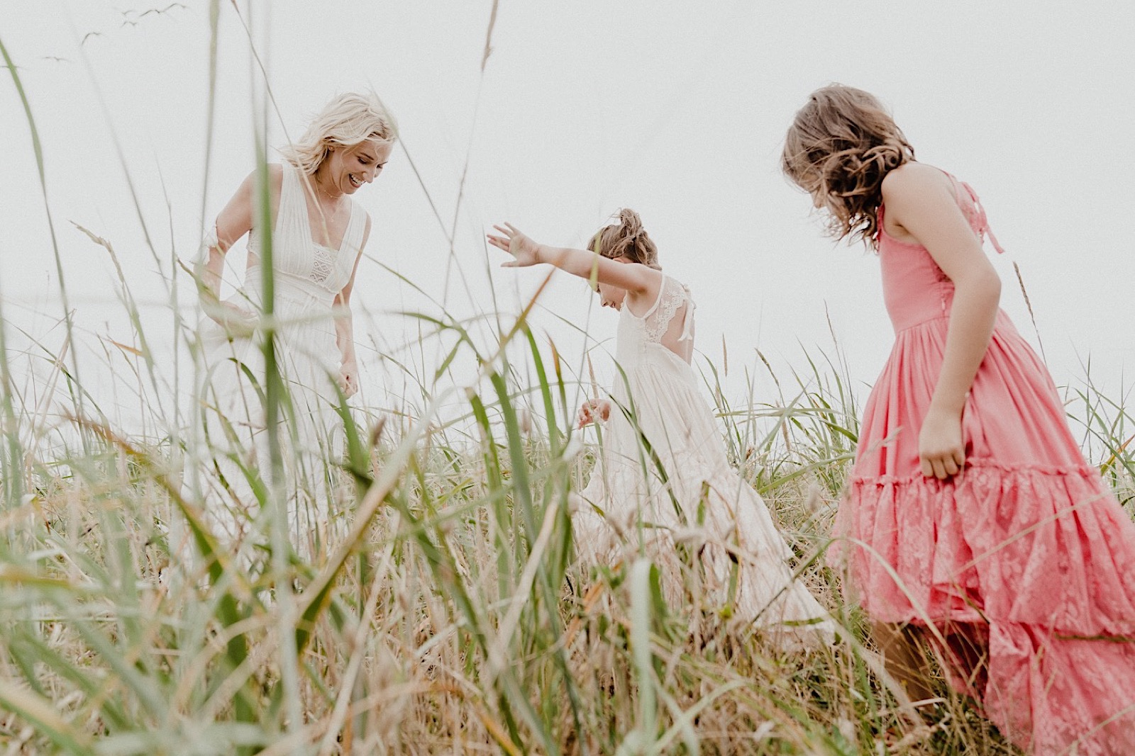 family photos in the tall beach grass at west haven state park
