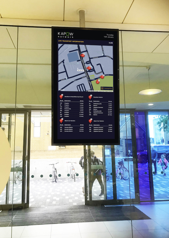 Kapow Network - London Digital Out Of Home Network (DOOH), Kapow Network, Connects Host Buildings to Local, Smarter Mobility