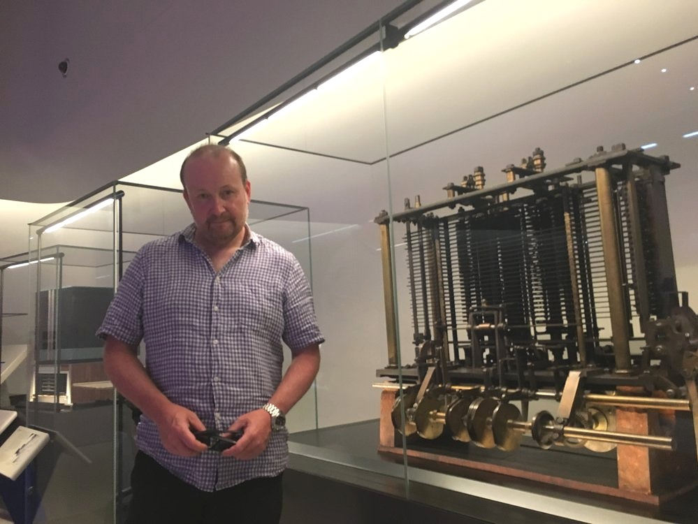 Chris with the famous Difference Engine, designed by Charles Babbage, at the London Science Museum. The Difference Engine is known to be the first working computer.
