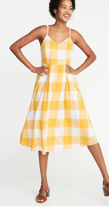 Fit & Flare Gingham Cami Midi Dress for Women