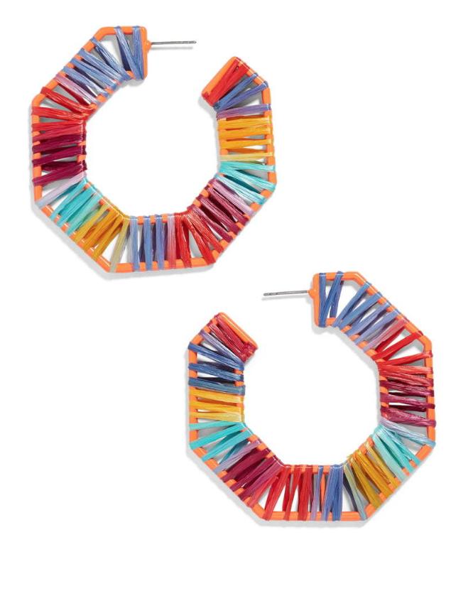 BaubleBar Reinette Raffia Hoop Earrings