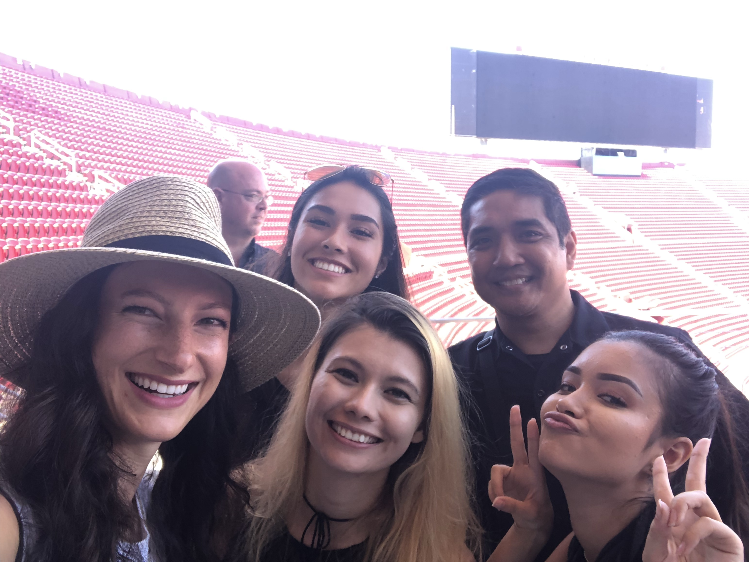 The HINxPC crew on a site visit at the LA Memorial Coliseum, Summer 2019