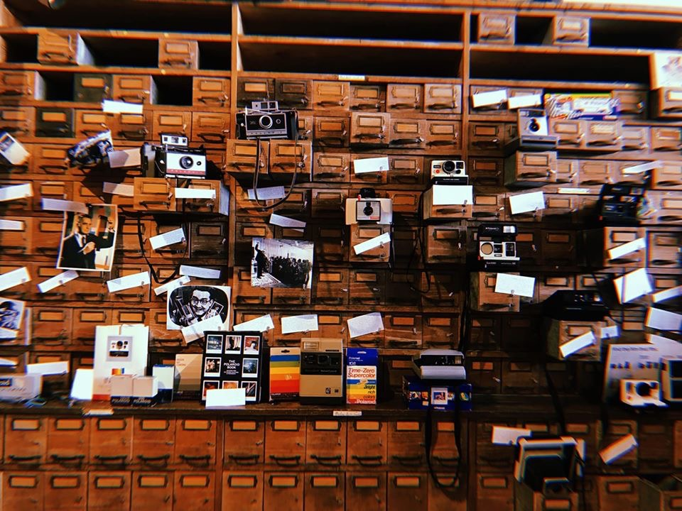 polaroid photos and cameras in music store