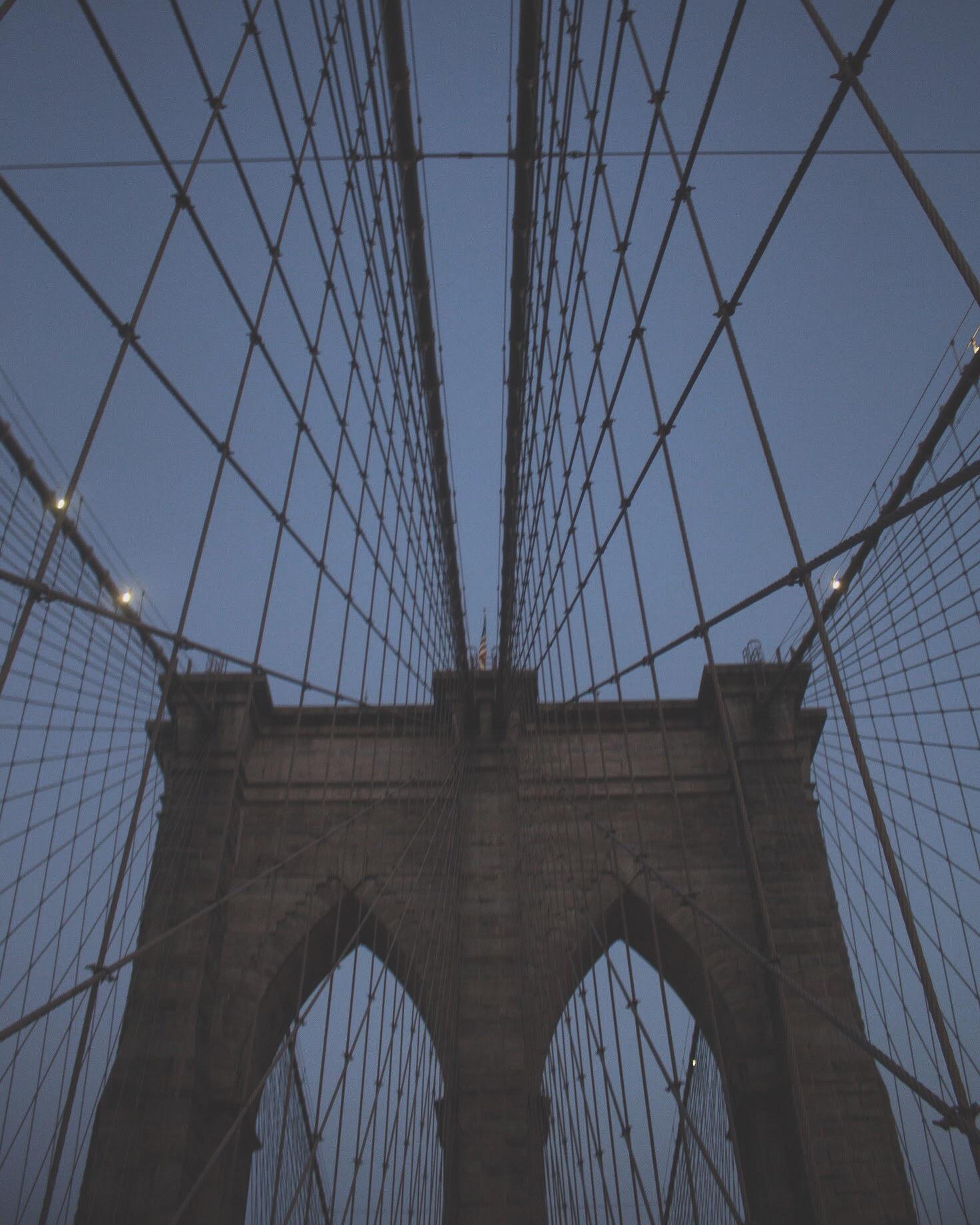 bridge against dark sky