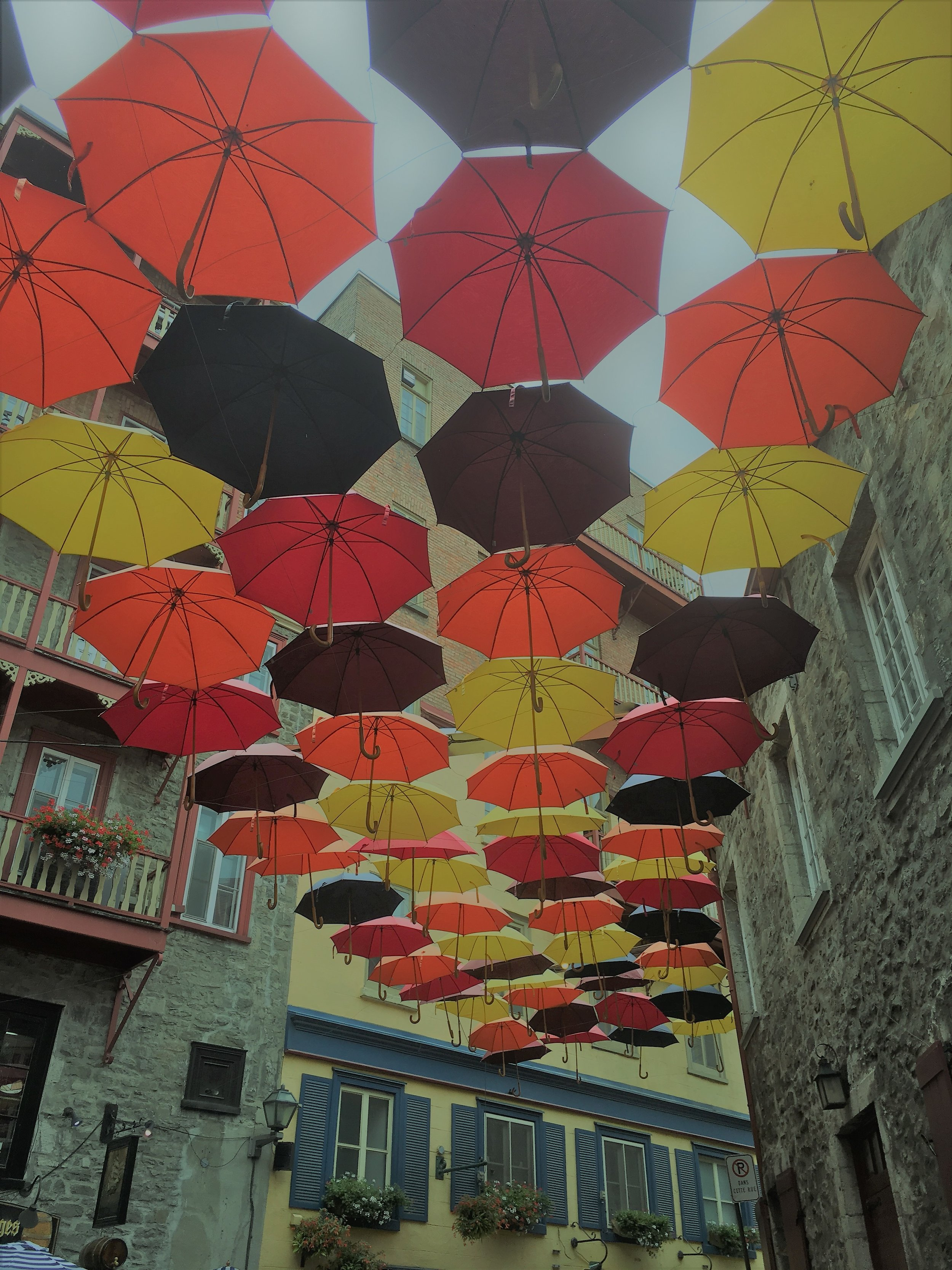 colorful umbrellas floating in sky