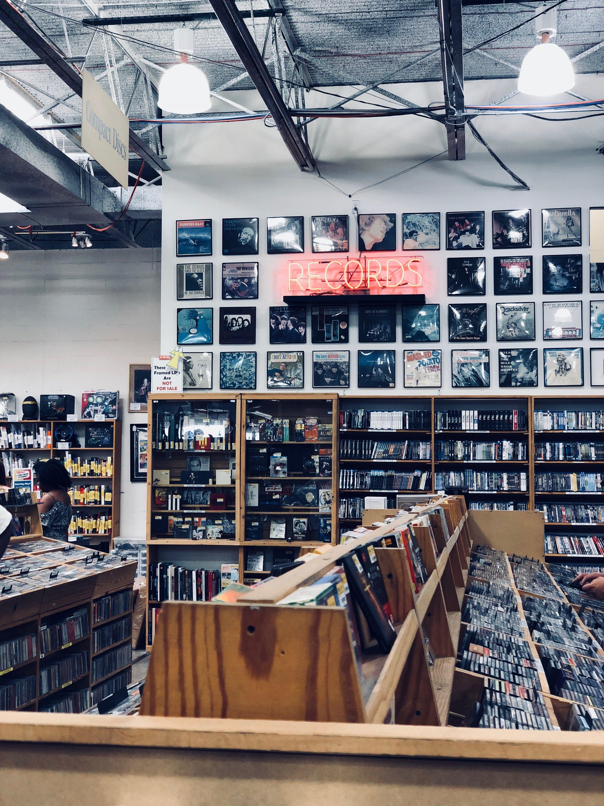 Neon RECORDS sign in record store in Dallas