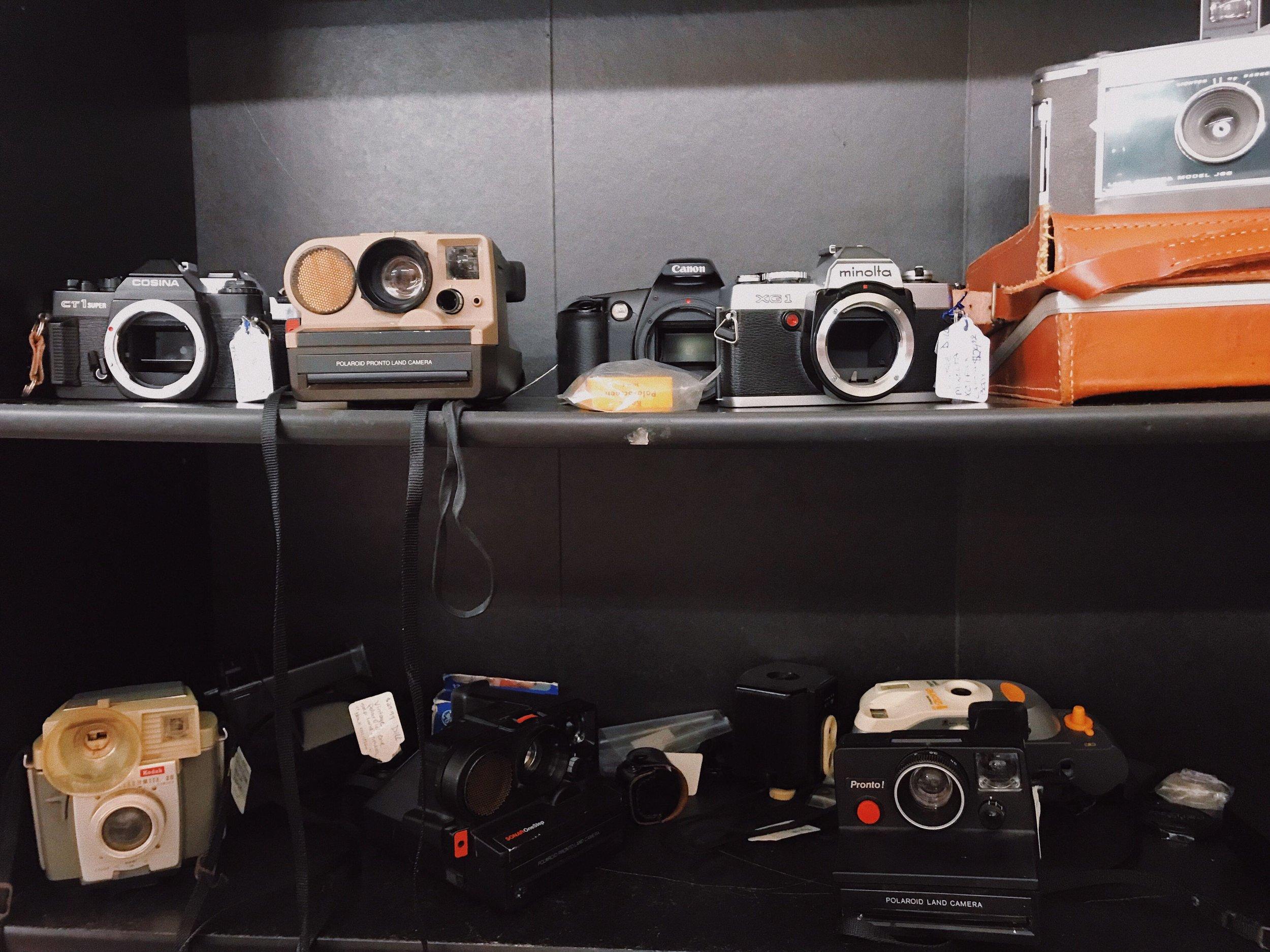 Vintage cameras on shelf