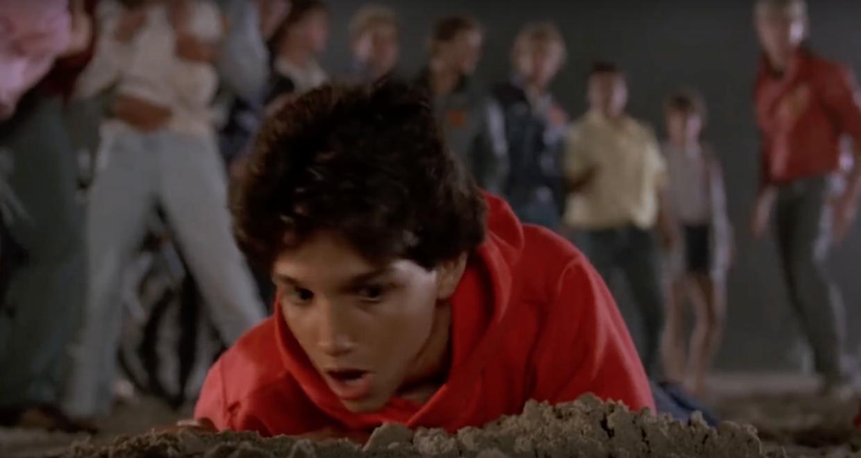 Karate Kid beach fight scene Daniel in sand Johnny in background