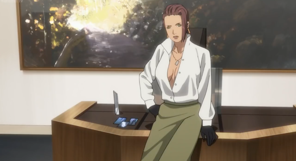 Kurutsu talking to Motoko in her office