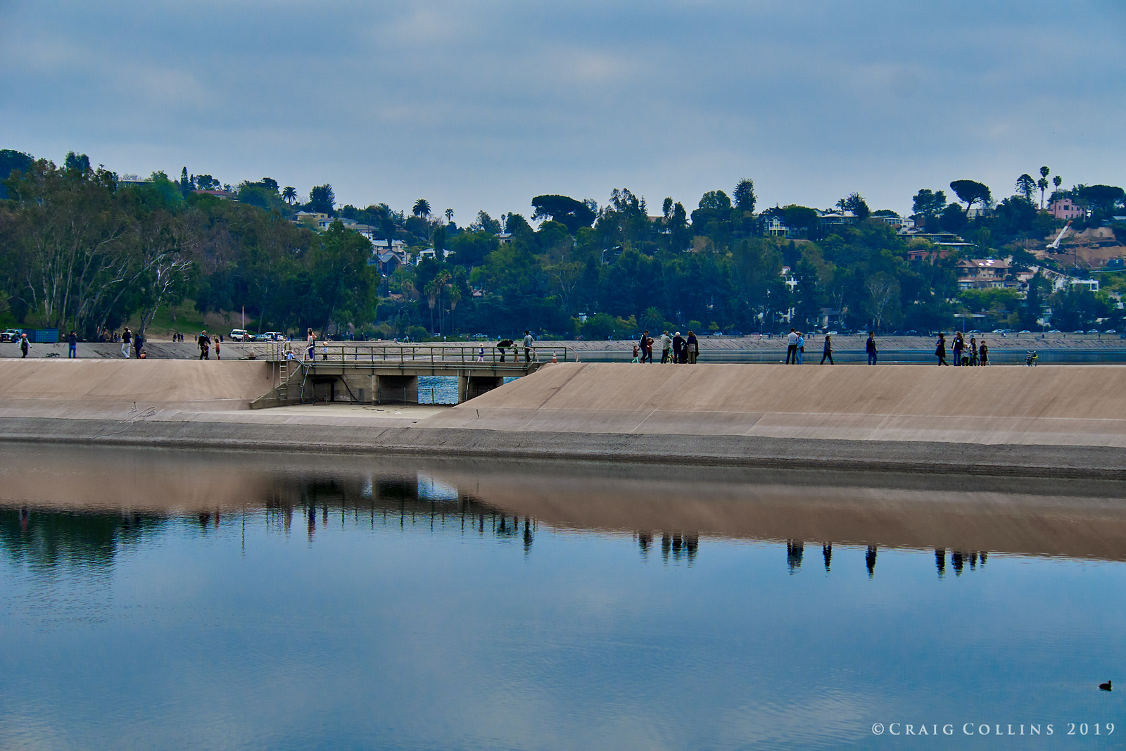 People walk inside the Silver Lake Reservoirs Complex during a DWP open house.