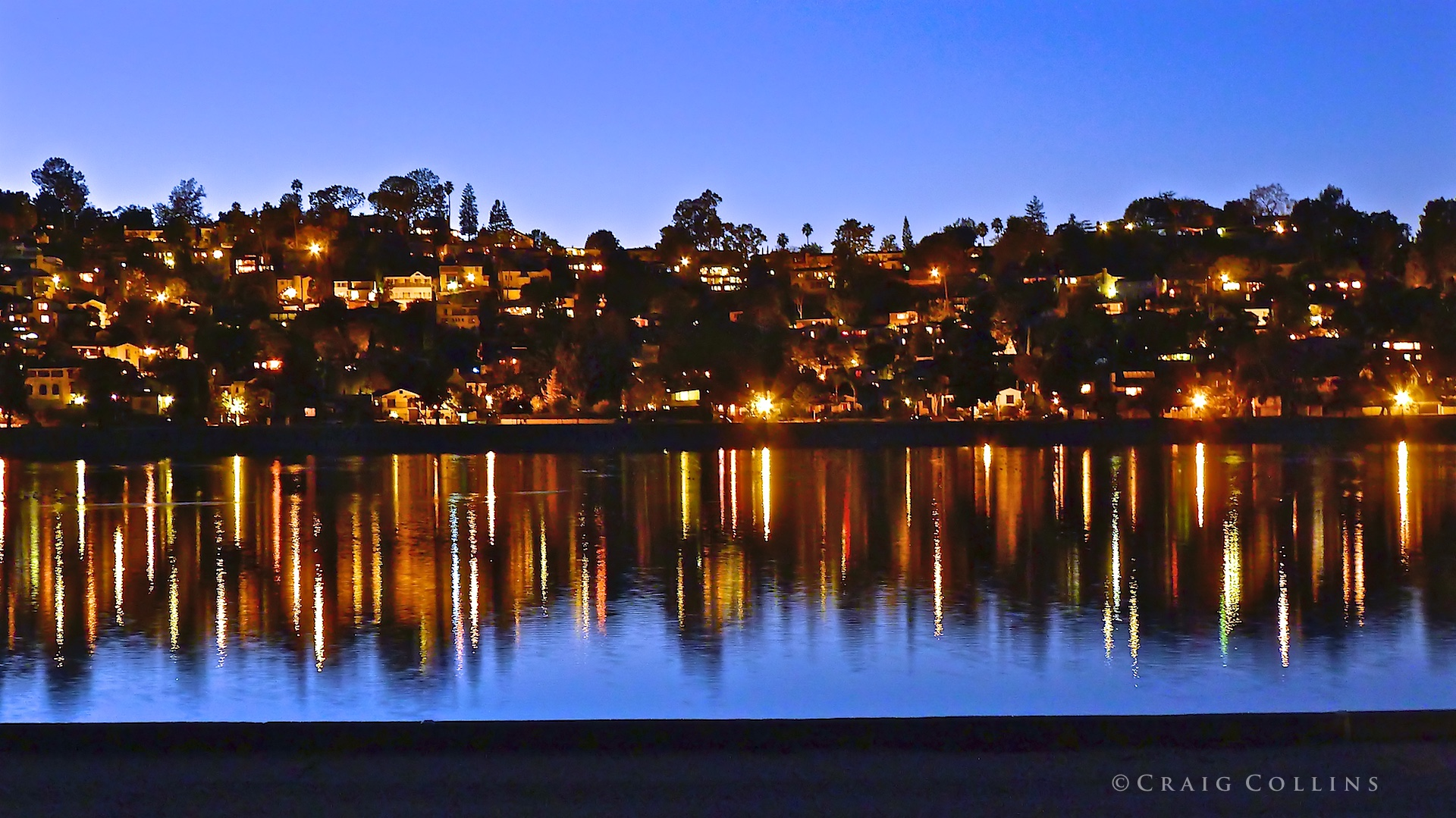 Silver Lake Reservoir at dusk.