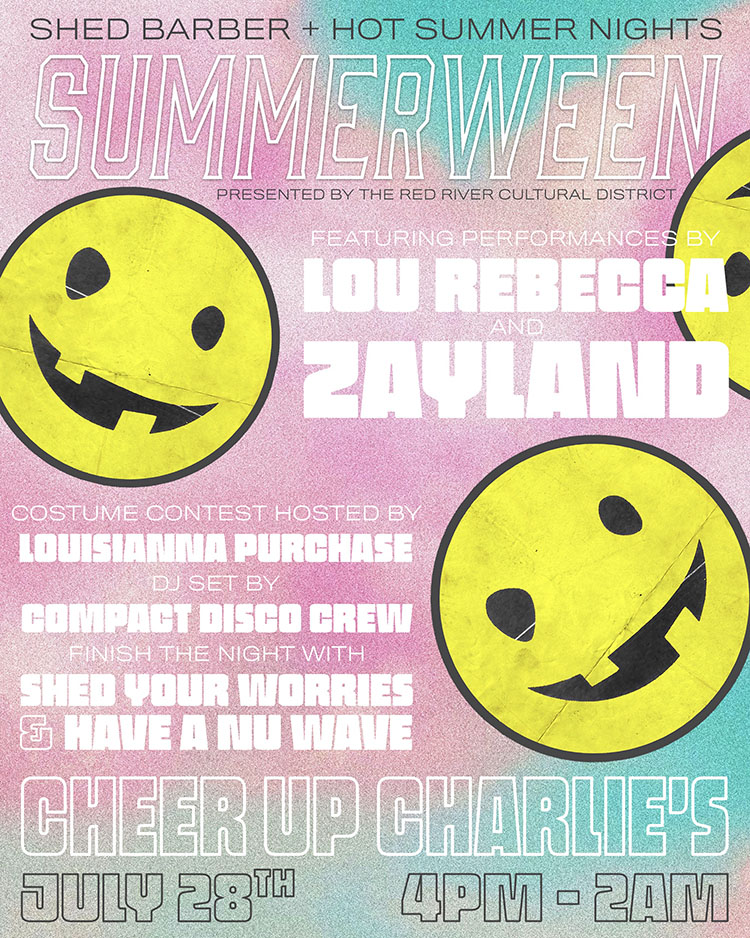 """shed your worries  once again partners with   The Nu Wave SOUND   for the third installation of   """"SHED YOUR WORRIES & HAVE A NU WAVE""""   on July 28th from 10:00pm 'till 2:00am at Cheer Up Charlie's in Austin, TX."""