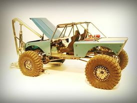 Scout 800 Woods Runner - The inspiration for this chassis was based around a build I found on Pirate4x4. It was just a clean rebuild of an original Scout 800.This chassis is designed to be built with 1/8″ solid rod and welded to an SCX10 chassis. It is not designed around any specific body and the hood is quite long which is based on the scale of the fullsize truck it was drawn to mimic. My personal build used hand formed steel panels but I am sure that there are lexan body options that will work.The stock Axial shock towers will work with this chassis, these chassis plans are a cosmetic addition to the SCX10 chassis. However you can remove the stock shock towers and fabricate your own mounts onto the chassis as I did in the rear of my personal build.Download the templates below and print them off on any standard printer. Make sure Page Scaling is OFF, measure the 1″ square box to check that everything is printing properly.