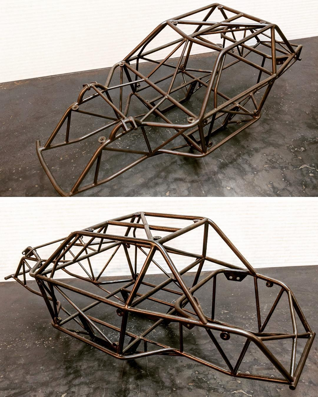 Made from DOM steel tubing and then given a copper coating treatment for an outside the norm look.