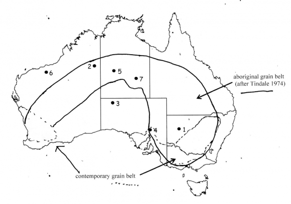 Figure 1 :  Mr Pascoe's  Dark Emu  (2018 reprint, p.28) map supposedly after Tindale, but showing considerable expansion of Tindale's aboriginal grain belt boundary to include the contemporary Australian grain belt regions, including most of Victoria south of the Murray River! Why was Tindale's original map altered like this?