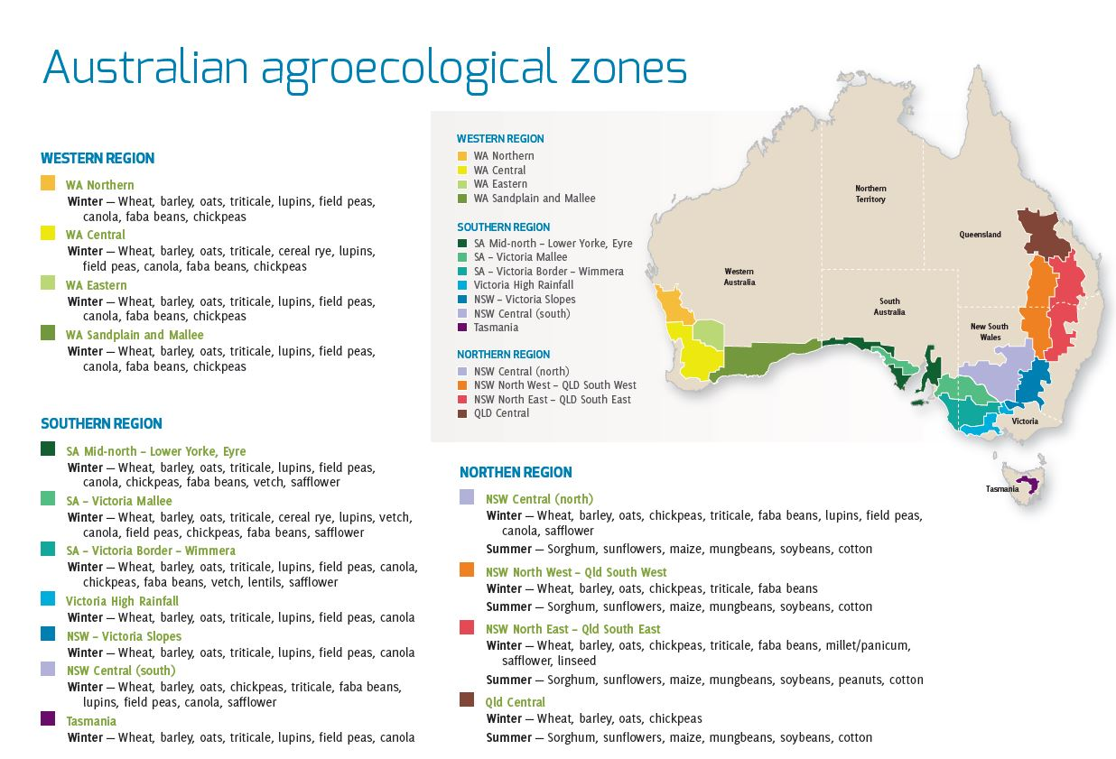 Figure 4;  Modern Australian grain-belt  (From The Australian Export Grains Innovation Centre (aegic) website-2019).    Note that the    real    modern Australian grain-belt is much larger than Mr Pascoe gives Australia credit for in his re-drawn map.