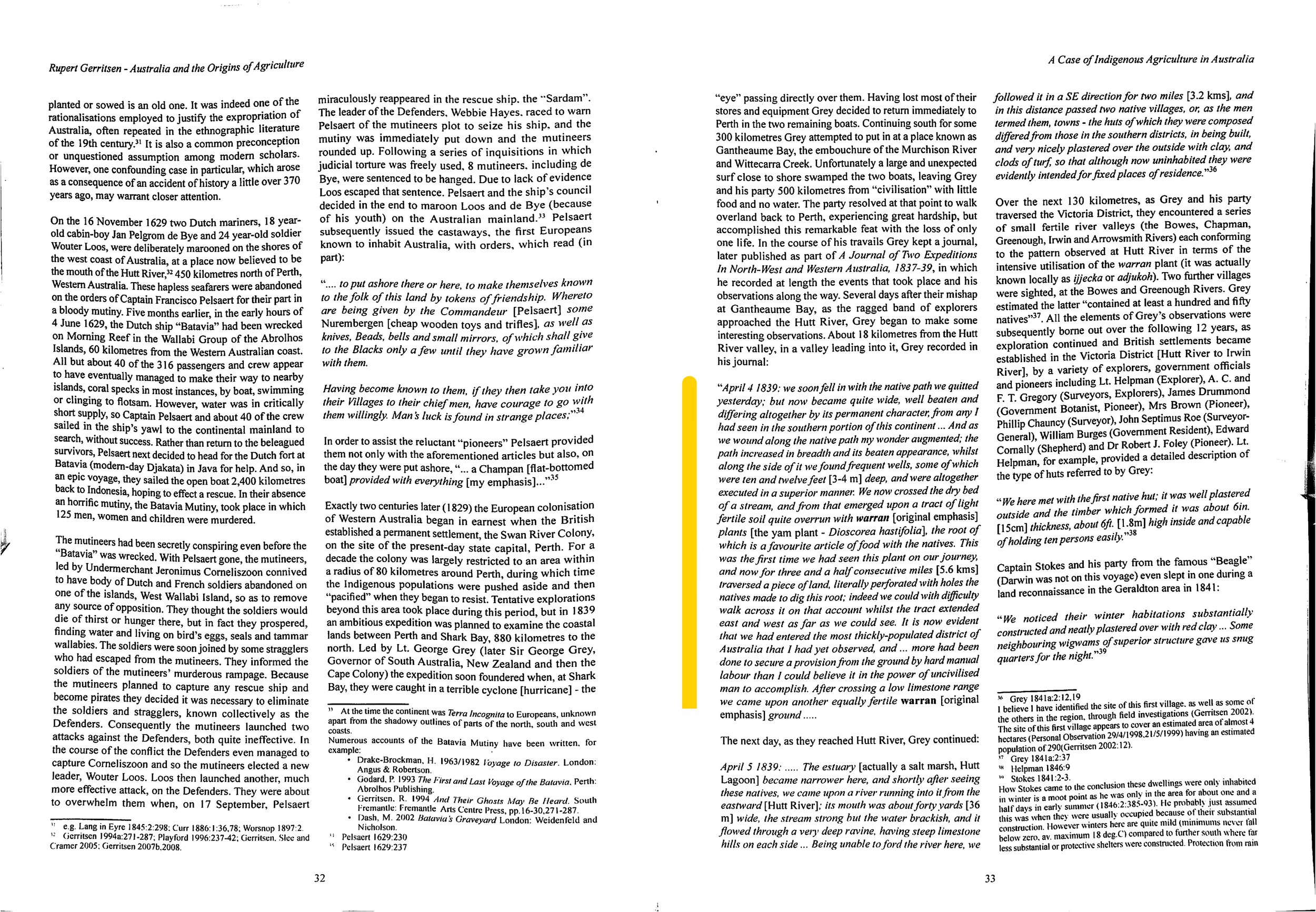 """Figure 1 : Highlighted in yellow, the page 33 section describing the explorer George Grey's description of the """"cultivated"""" yam fields, that Mr Pascoe has transcribed to his  Dark Emu  account (2018 reprint, p 17). From the second paragraph of first column of page 32, Gerritsen describes in detail the circumstance of the Dutch presence on the west coast of Australia some 200 years earlier."""