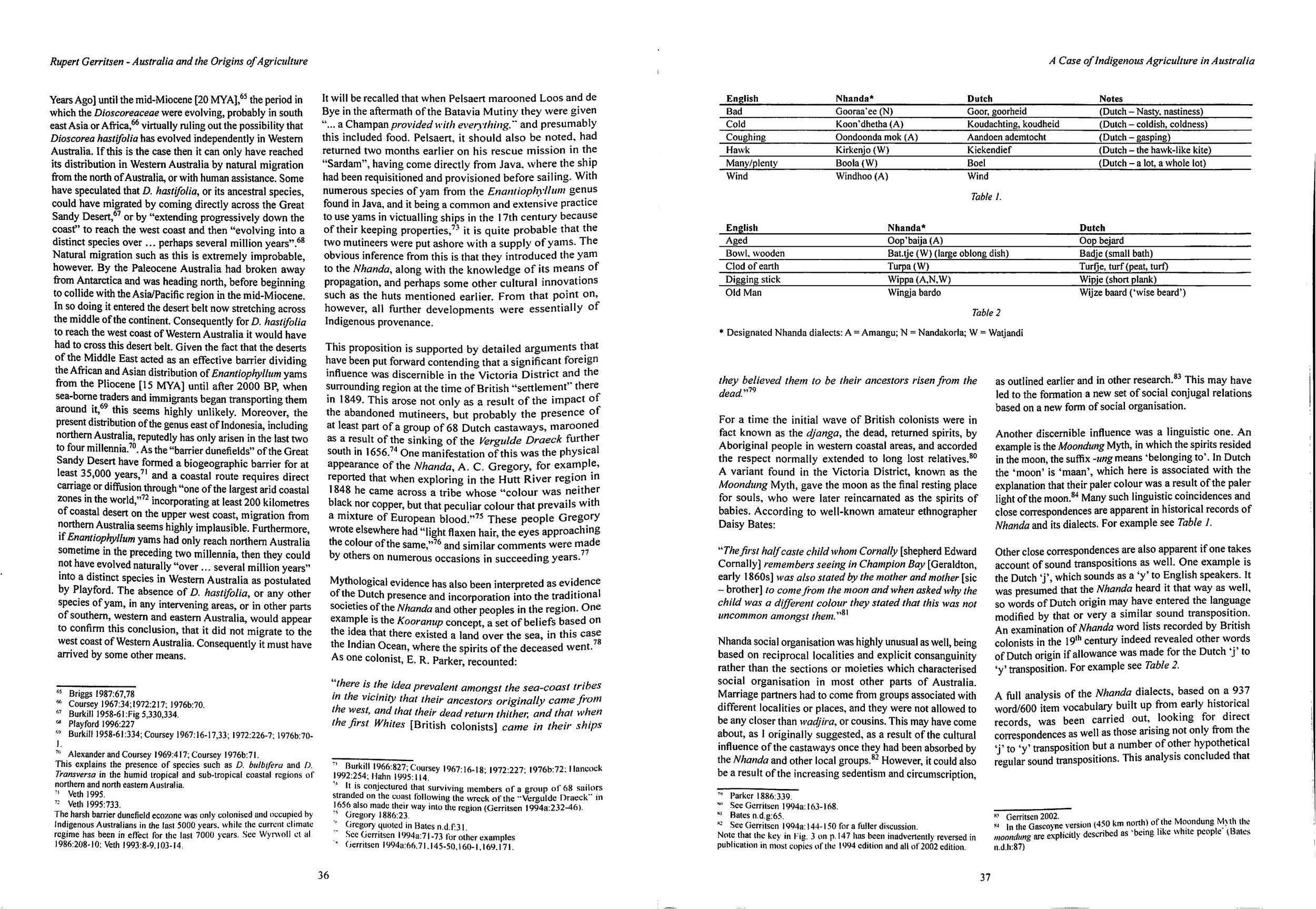 Figures 3 & 4 : Gerritsen's final paragraphs detail linguistic, mythological and other evidence to support his theory of a major influence of the Dutch in this region prior to British settlement.