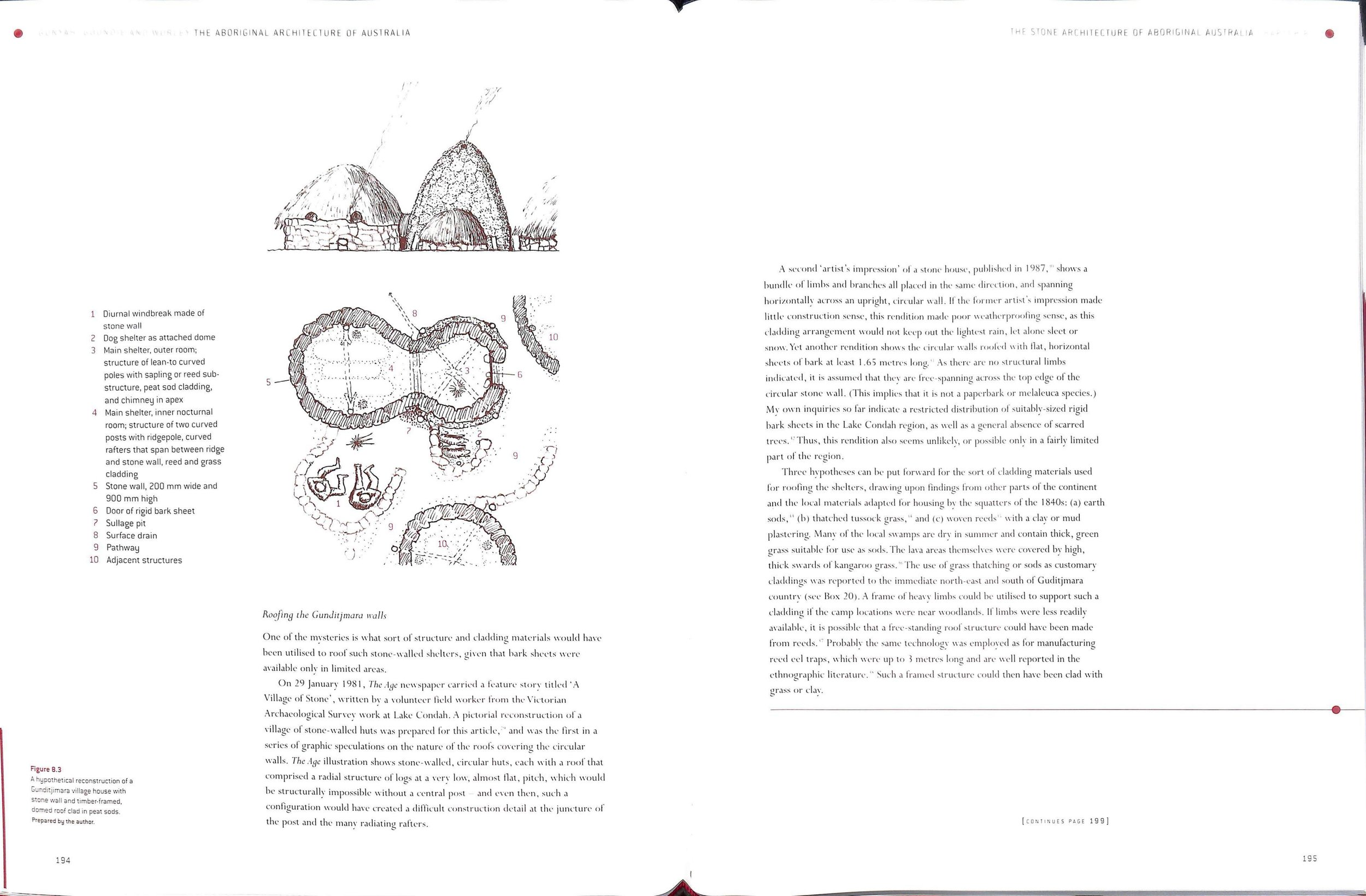 """Figure 8.3 Caption reads,  """"A    hypothetica   l reconstruction of a Gundidjmara village    house   , with stone wall and timber-framed, domed roof clad in peat sods. Prepared by the author'""""  [Paul Memmott]."""