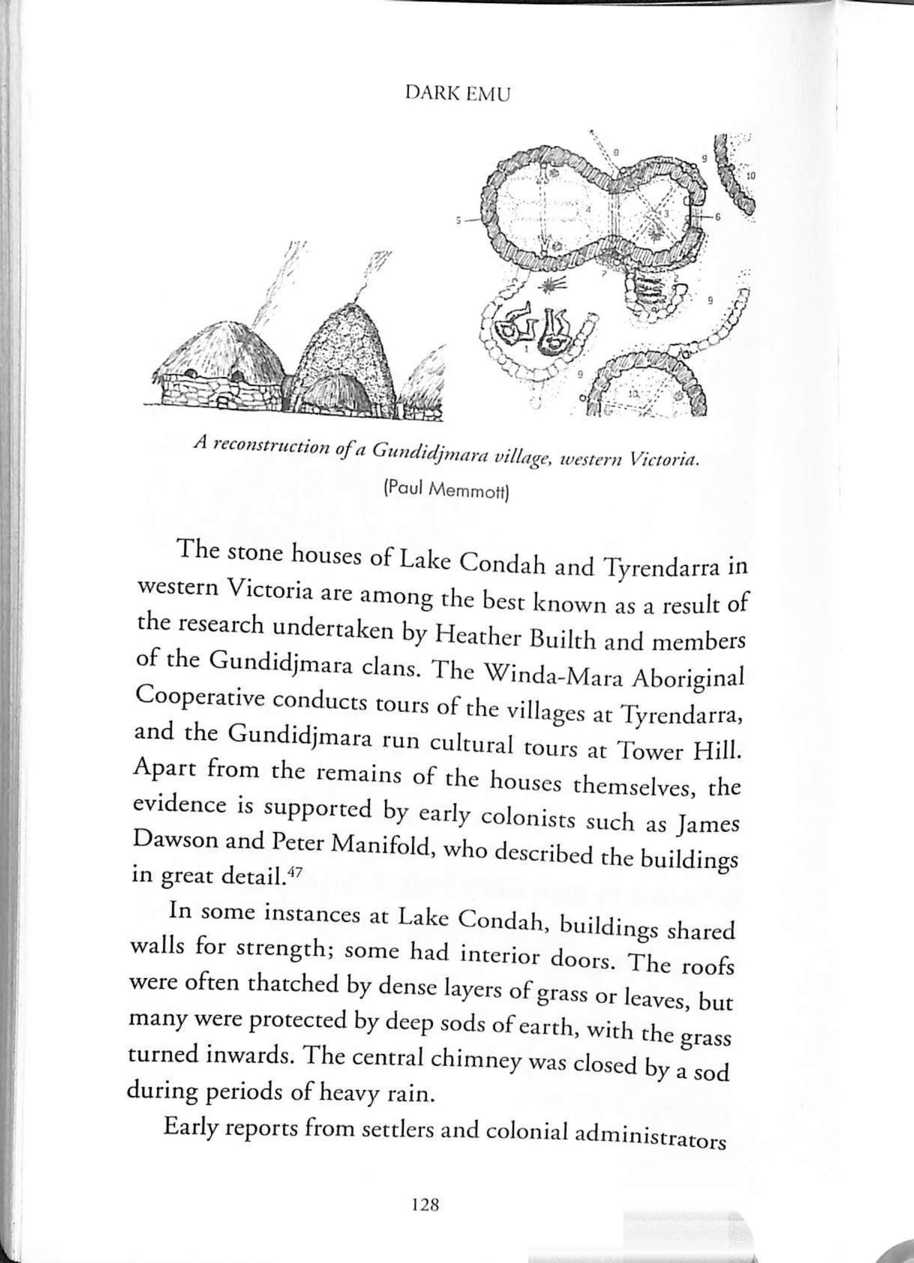 """Figure 1 : Caption reads,  """"A reconstruction"""" of a Gundidjmara village, western Victoria"""" [Paul Memmott]""""  -  Dark Emu , 2018 reprint, p128."""