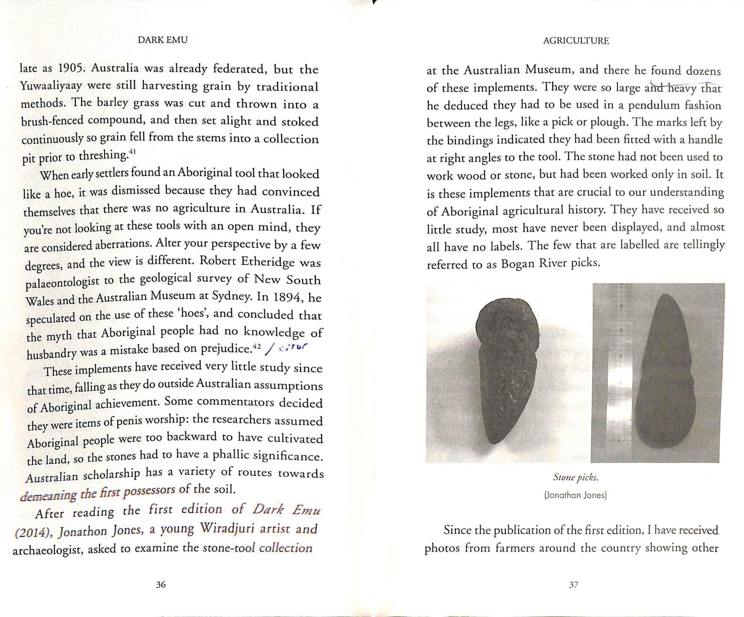 - Excerpt from Dark Emu regarding Etheridge's stone picks.