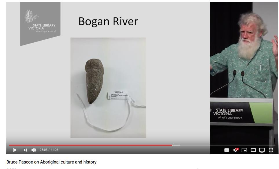 """- In the words of Mr Pascoe during his lecture: """"This stone was found by a young Aboriginal man in the Australian Museum. There wasn't just one of them, there were thousands of them. Thousands of those stones. The stone is that big [Holds out his hands about a metre apart, like a proud fisherman]. It's too heavy to use above your waist. It was attached to a right-angled handle.- 2017 Stephen Murray-Smith Memorial Lecture @ 25:00"""