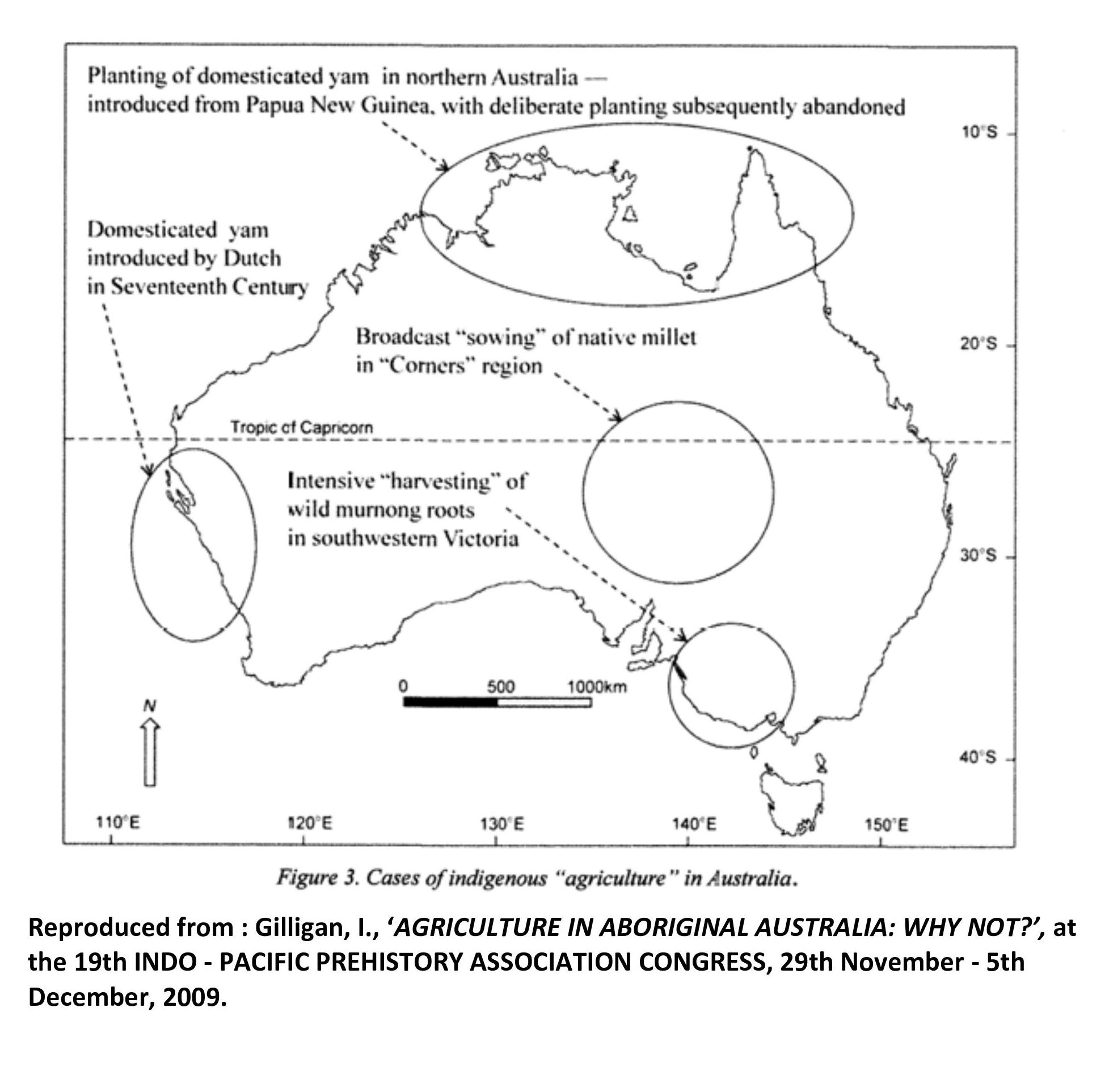 - Gilligan's map of the locations of possible Aboriginal 'agriculture'. Hardly inspiring as evidence that the 500-odd Aboriginal tribes were living a settled, agricultural existence in their 'stone house villages', tending their 'vast irrigated estates of grain' and 'aquaculture' systems prior to the British arrival as Mr Pascoe maintains.