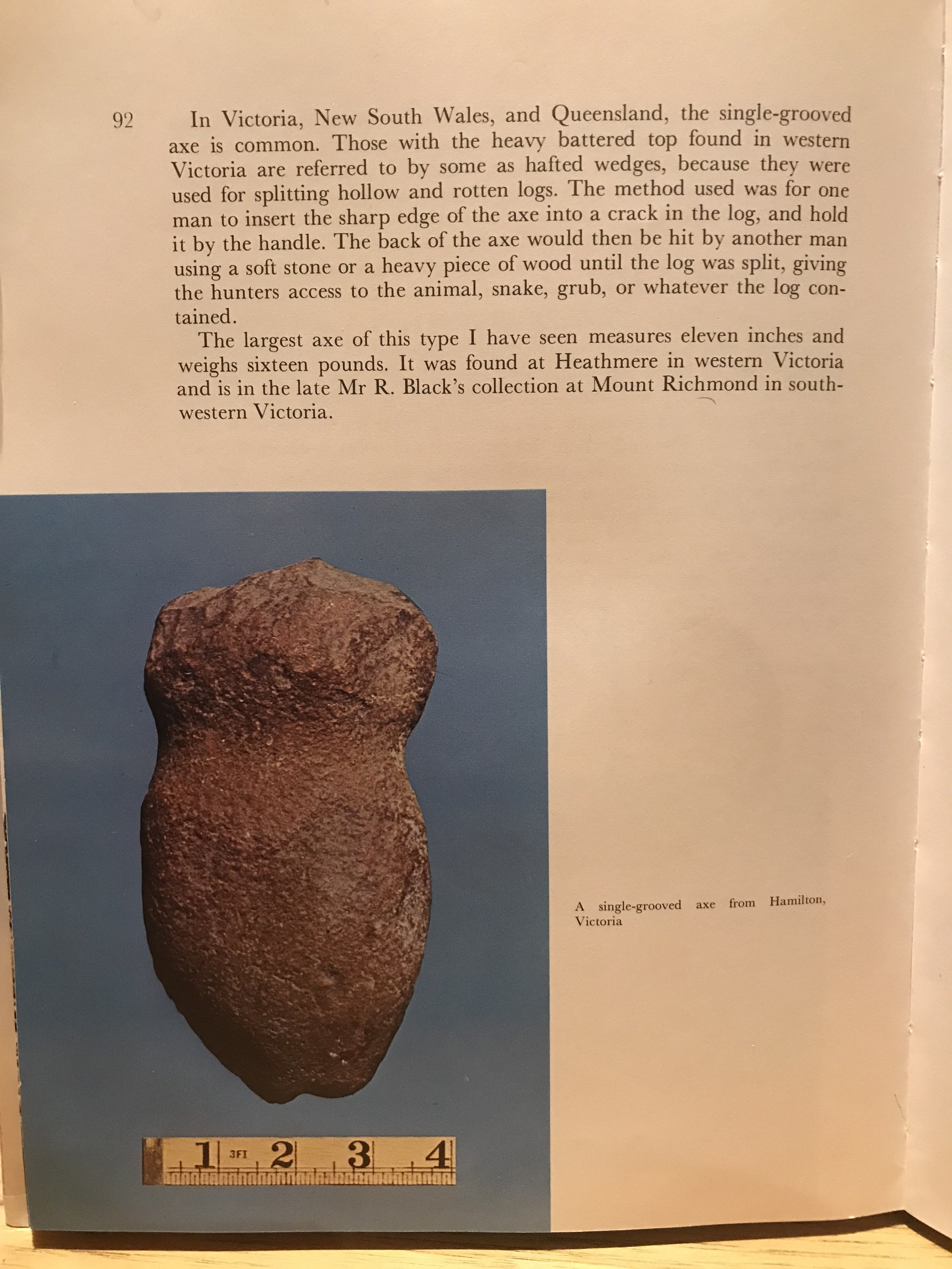 - Just because something looks like a 'hoe' or a 'plough' doesn't mean it is one.Here is an excerpt from an old catalogue describing a stone axe that looks remarkably like a 'hoe' too. Apparently this axe-style could get really big - up to 16 lbs (7kg) which also would be hard to lift above the waist continually. But in fact it was used to split logs and its 'hoe-like' appearance is merely co-incidental.Similarly, just because a Bogan pick could be said to look like a hoe, doesn't mean it was used as one.