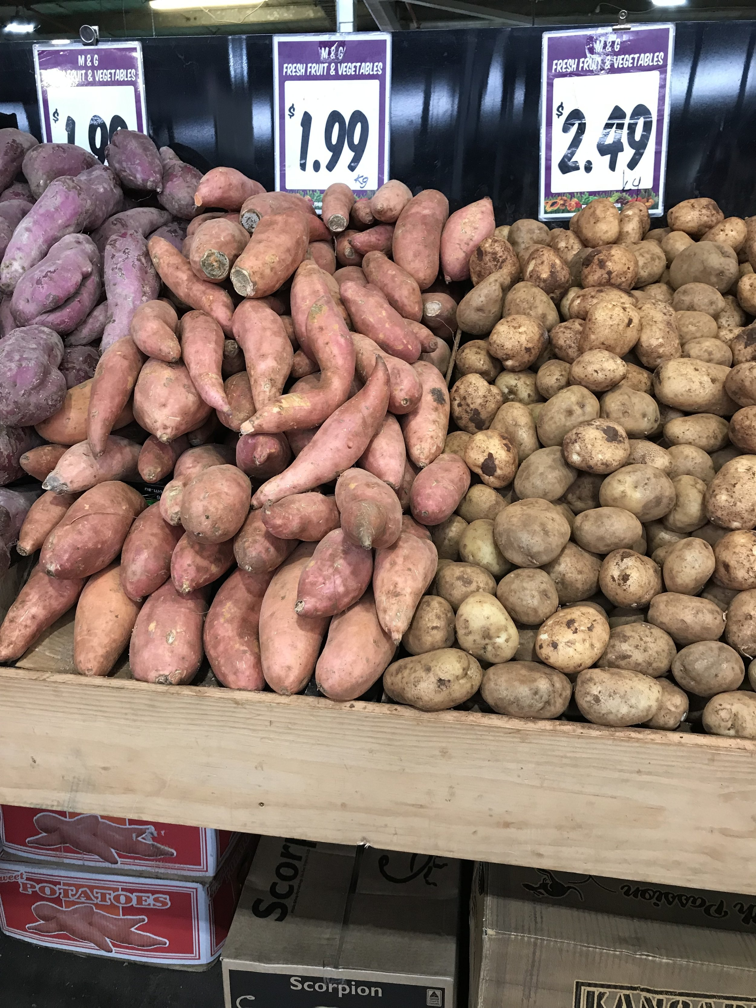 - These photos were taken at the local market in Dandenong, Victoria. The only thing Aboriginal here is the name 'Dandenong', a word from the Woiwurrung Aboriginal language.The market is full of hard-working Australians, mostly New Australians, Greeks, Italians and more lately Indians, Chinese, Vietnamese and refugees from the 'Stans' and Africa. All working hard to grow and sell great produce, including all the agrarian tubers such as yams, potatoes, daikon, et al.But no yam daisy, or myrnong, is on offer.