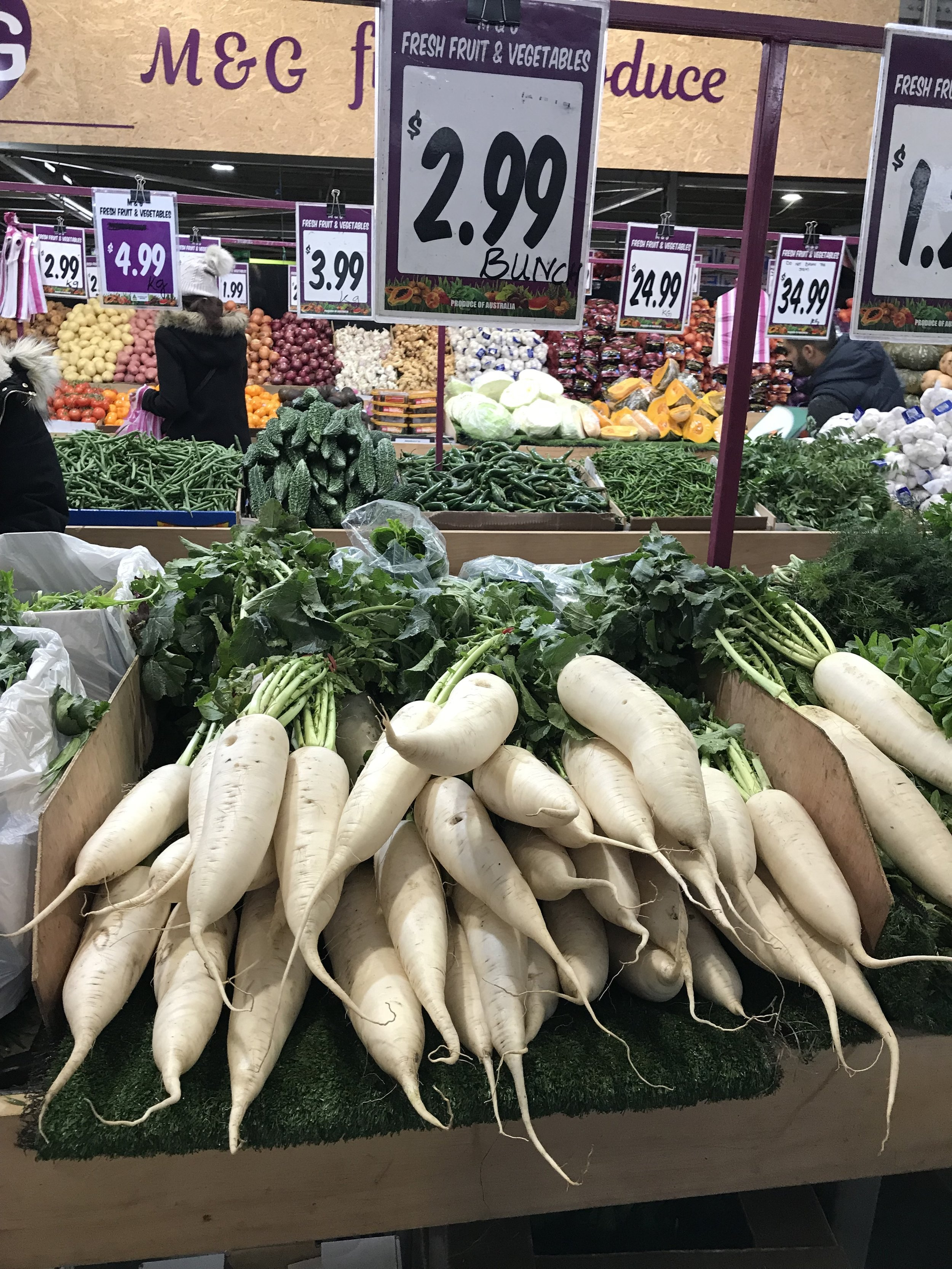 - Daikon or daikon radish is grown and used by local Japanese, Chinese, Hindus, Panjabis and Malaysians amongst others, who all have long history as agriculturalists.Why aren't myrnong, grown by the descendants of the local Aboriginal Woiwurrung, available at the market?We would argue because the Woiwurrung were not agriculturalists and so there is no continuing culture that would result in their descendants in being myrnong market gardeners today.