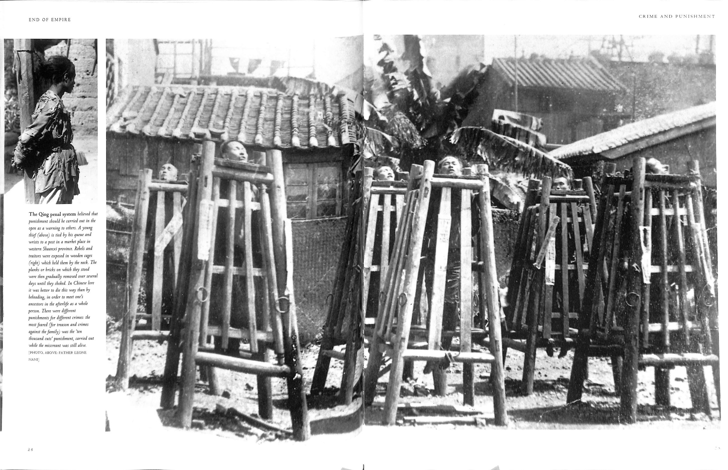 - These Chinese prisoners are experiencing first hand the 'culture and kindness' of the government of the Chinese Emperor. They are held in cages by the neck and the bricks on which they stand are gradually removed over several days until they choke - Torture and execution.In Australia since 1820, 1648 executions by hanging occurred, of which 4 are recorded as Aborigines (wikipedia & click here). Capital punishment is now banned in Australia.Whereas in Mr Pascoe's 'cultured and kind' China, capital punishment is still legal and more than 50% of the world's executions take place in China, although they are becoming 'kinder' - in 2014 'only' 2400 executions occurred, down from 12,000 in 2002 (wikipedia).