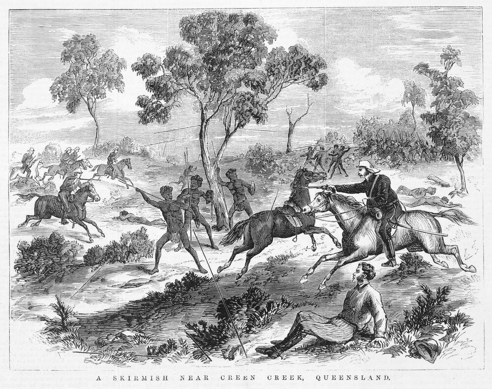 "- Footnote : We also note that the illustration in the Worksheet A is the same as the 'Conflict on the Rufus ' illustration on page 12, but is mis-captioned as ""Details from 'A Skirmish Near Creen Creek' 1876. State Library of Victoria. This is a completely different illustration as can be seen adjacent, which is only one more example to illustrate our point that Young Dark Emu is factually incorrect."
