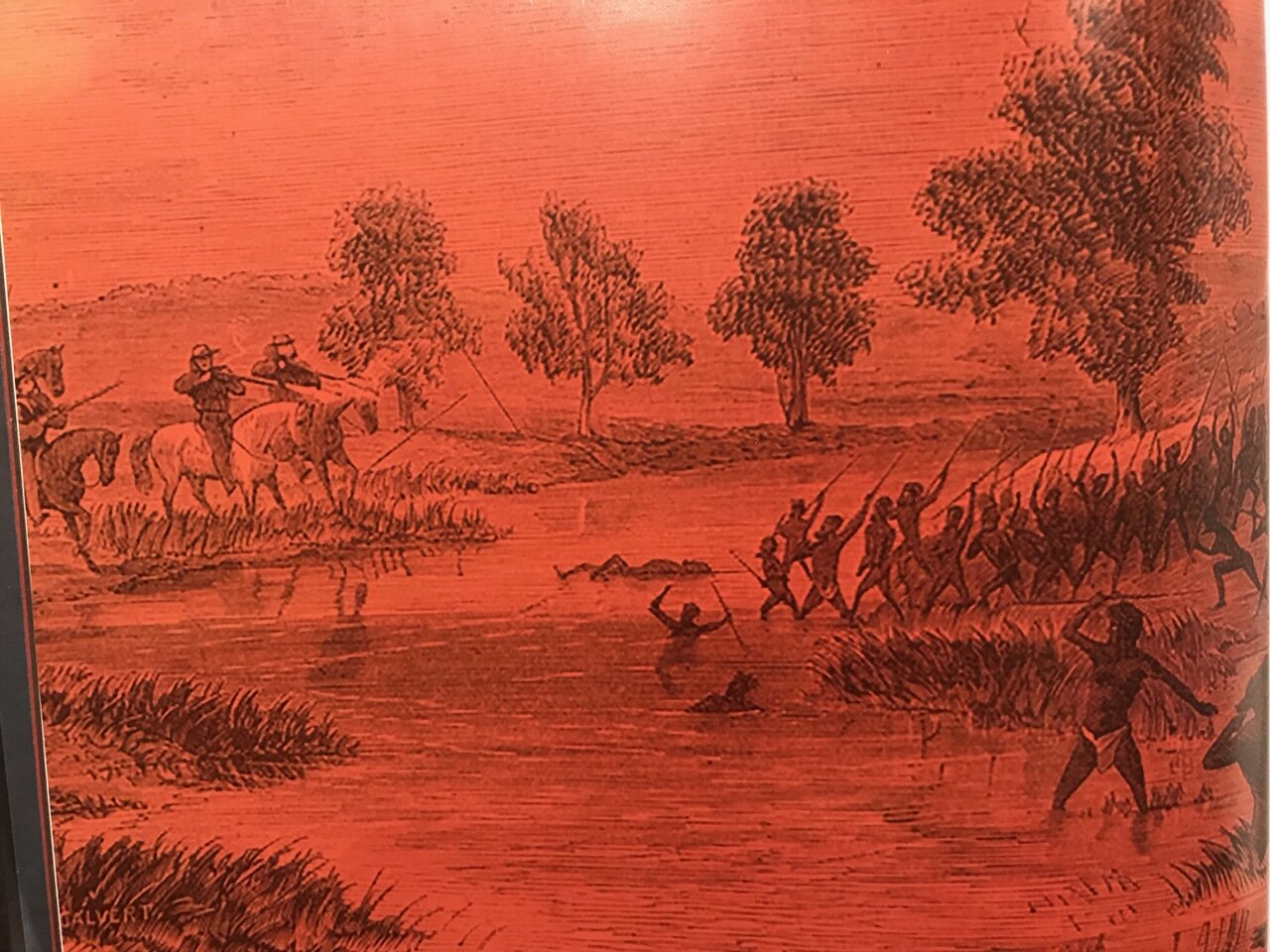 - Discussions of violent colonial massacres are not suitable topics for 9 year old children.- Image from Young Dark Emu - 'Conflict on the Rufus'- page 12