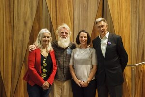 Bruce Pascoe photographed with (L-R) Professor Marcia Langton, Doctor Kate Howell and Professor John Fazakerley at the FVAS 2018 Research Week. -     Source