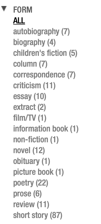 Professor Pascoe's published works are predominately 'fiction', with only one work out of 184 being described as Non-fiction - Source     AustLit     as of September 2020