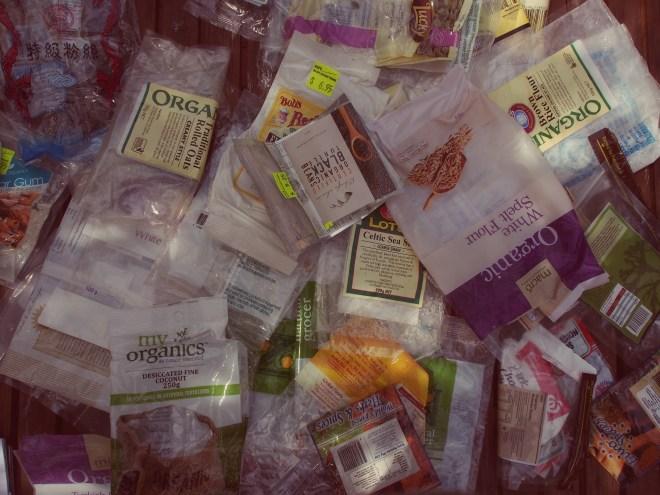 My original stash of food packaging