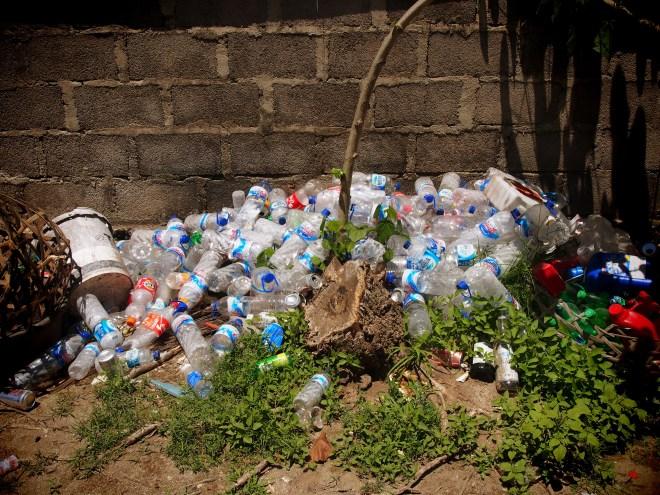 Plastic water bottle pile in Bali