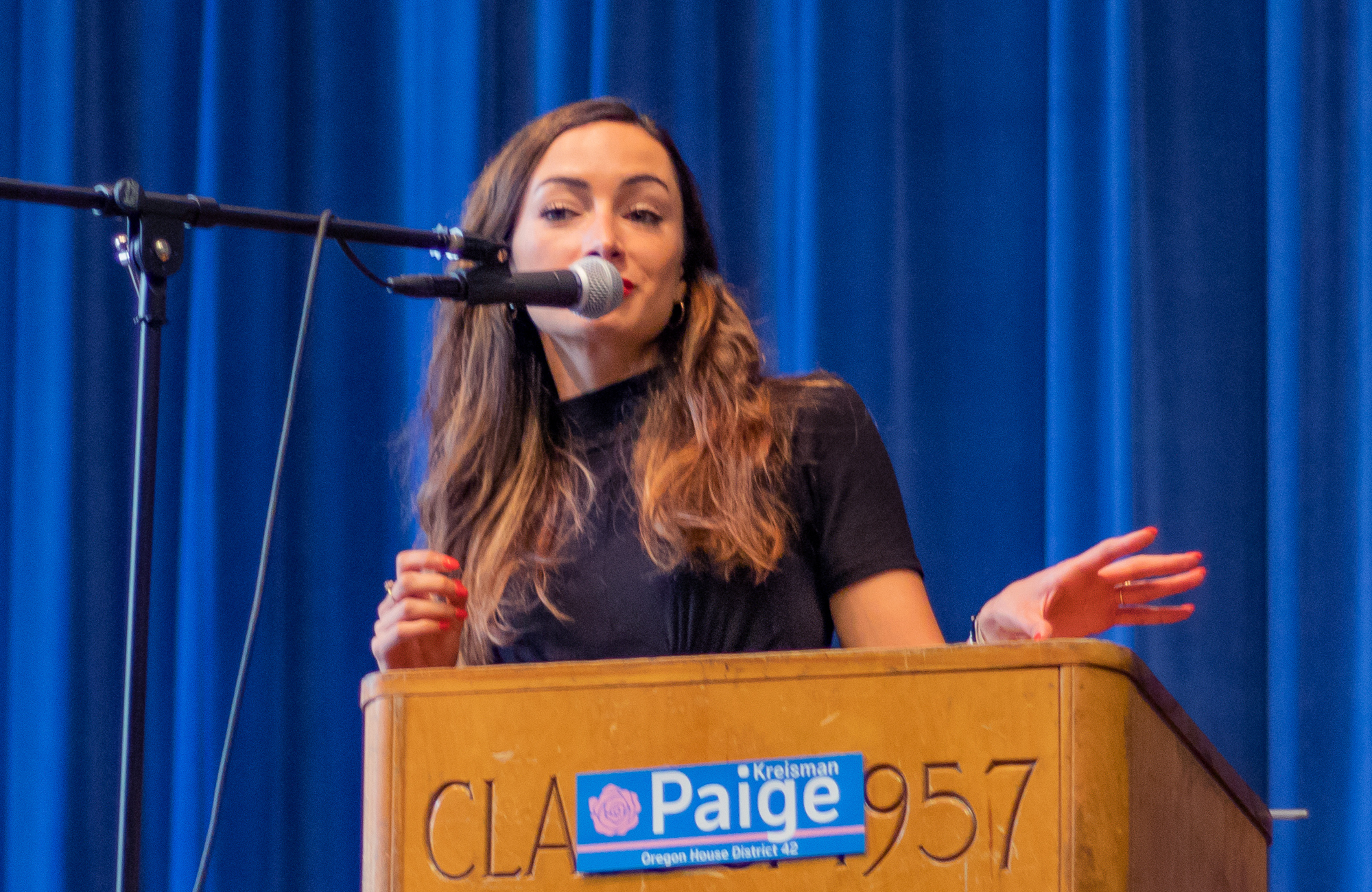 Olivia Katbi Smith, Co-Chair of the Portland Democratic Socialists of America, speaks in support of Paige Kreisman at Paige's campaign kick off rally. (June 23rd 2019) - Hosford Middle School.