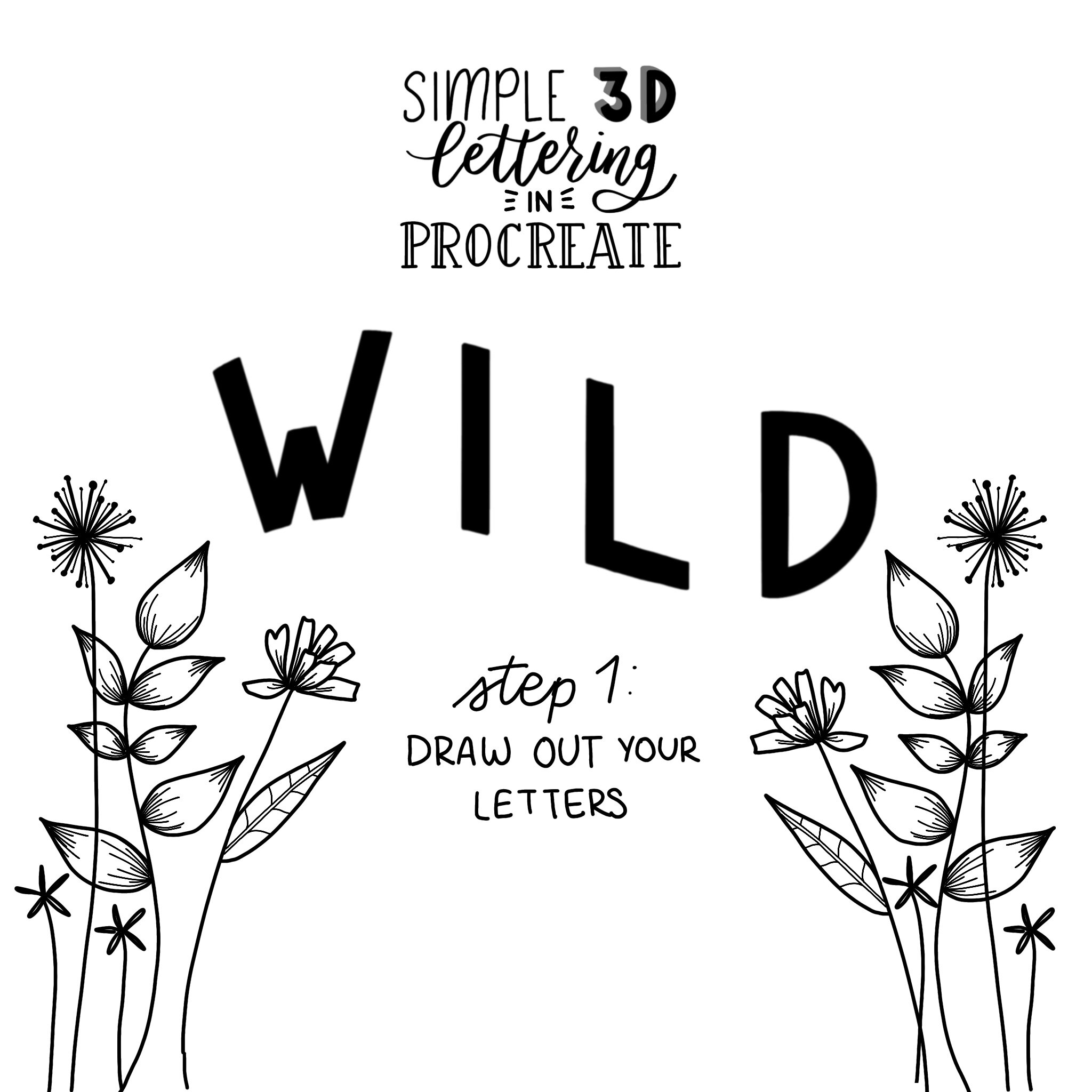 How To Create A Simple 3d Lettering In Procreate Design With Mina