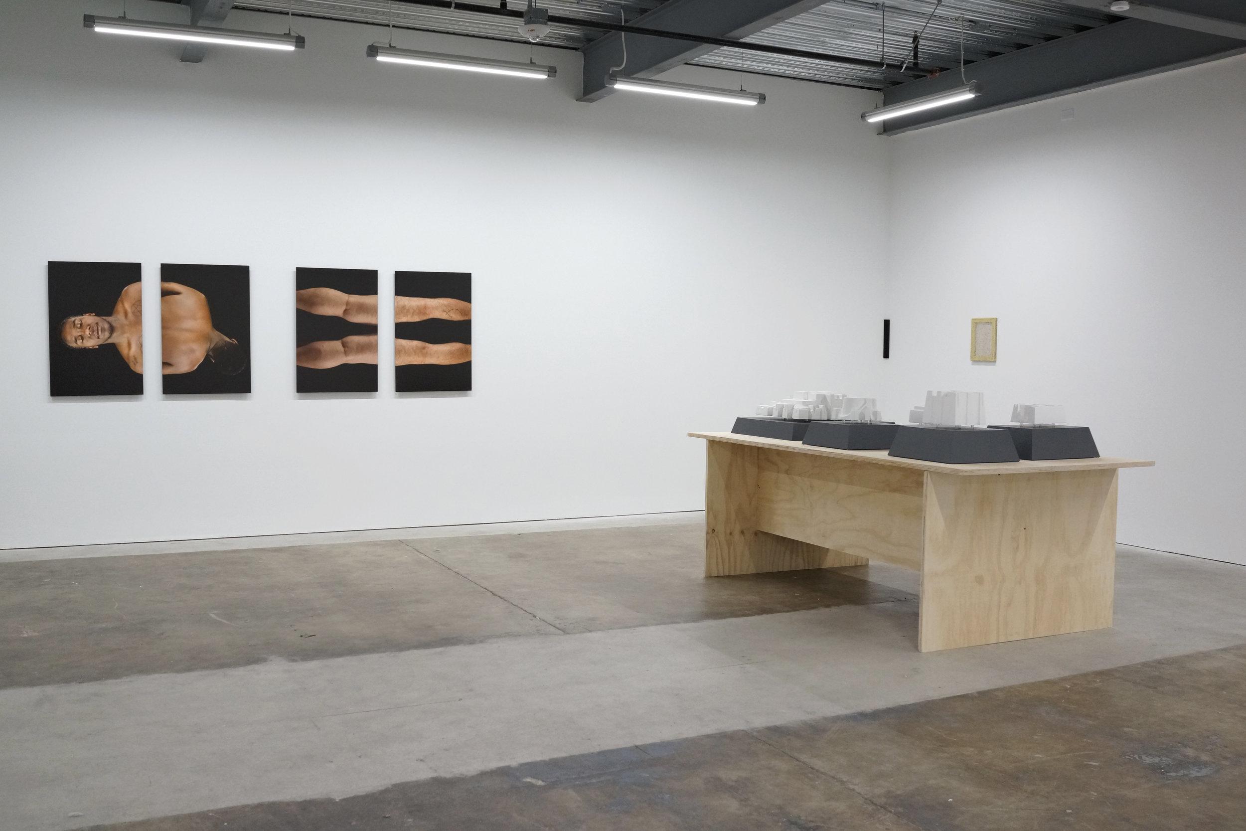Installation view, L — Evie Leder, table — Masako Miyazaki, R — Gregory Kaplowitz